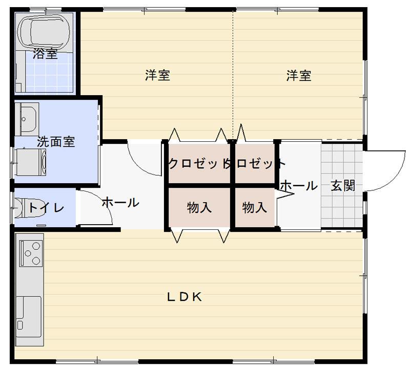 富士見が丘の新築建売 2LDK(1540)の1F間取り画像 ジェットの建売が有名ですが坂井建設の建売物件もぜひ見てください!