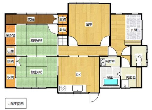 明野西の新築建売 5DK(1670)の1F間取り画像 ジェットの建売が有名ですが坂井建設の建売物件もぜひ見てください!