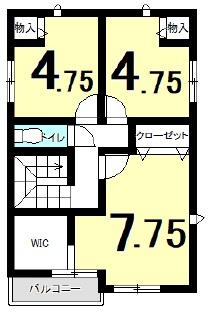 横尾の新築建売 4LDK(2400)の2F間取り画像 ジェットの建売が有名ですが坂井建設の建売物件もぜひ見てください!