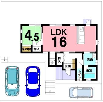 猪野の新築建売 4LDK(2590)の1F間取り画像 ジェットの建売が有名ですが坂井建設の建売物件もぜひ見てください!