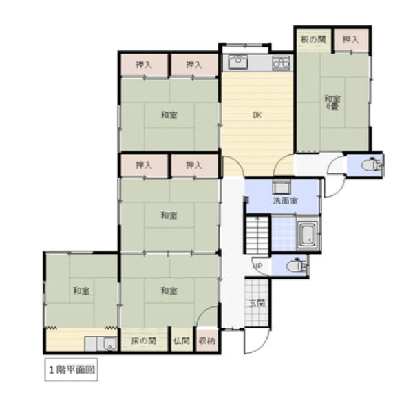 田尻西の新築建売 7DK(1540)の1F間取り画像 ジェットの建売が有名ですが坂井建設の建売物件もぜひ見てください!